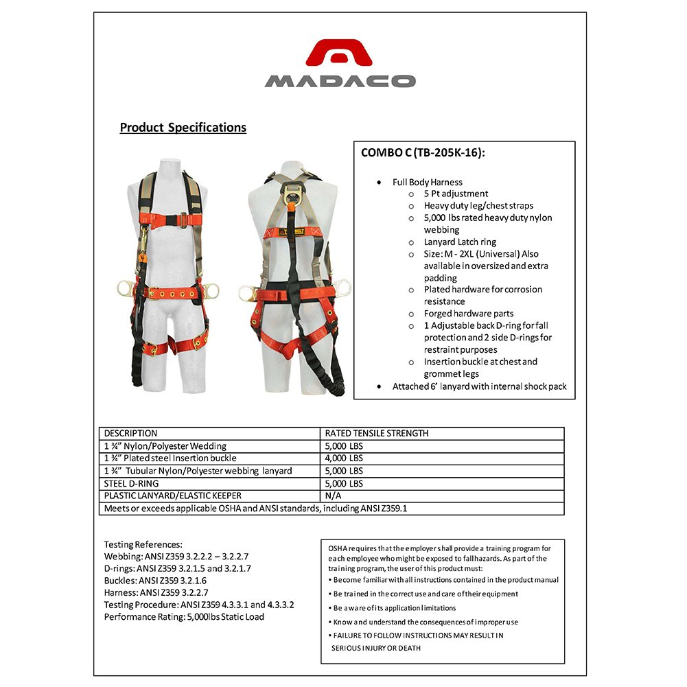 71 Q 7qEBuL._SL1001_ amazon com madaco roof construction fall protection full body