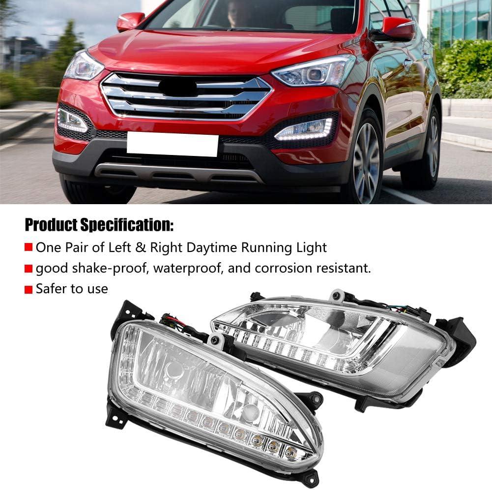 Pair White LED DRL Daytime Running Fog Light For Hyundai IX45 Santa Fe 2013-2015