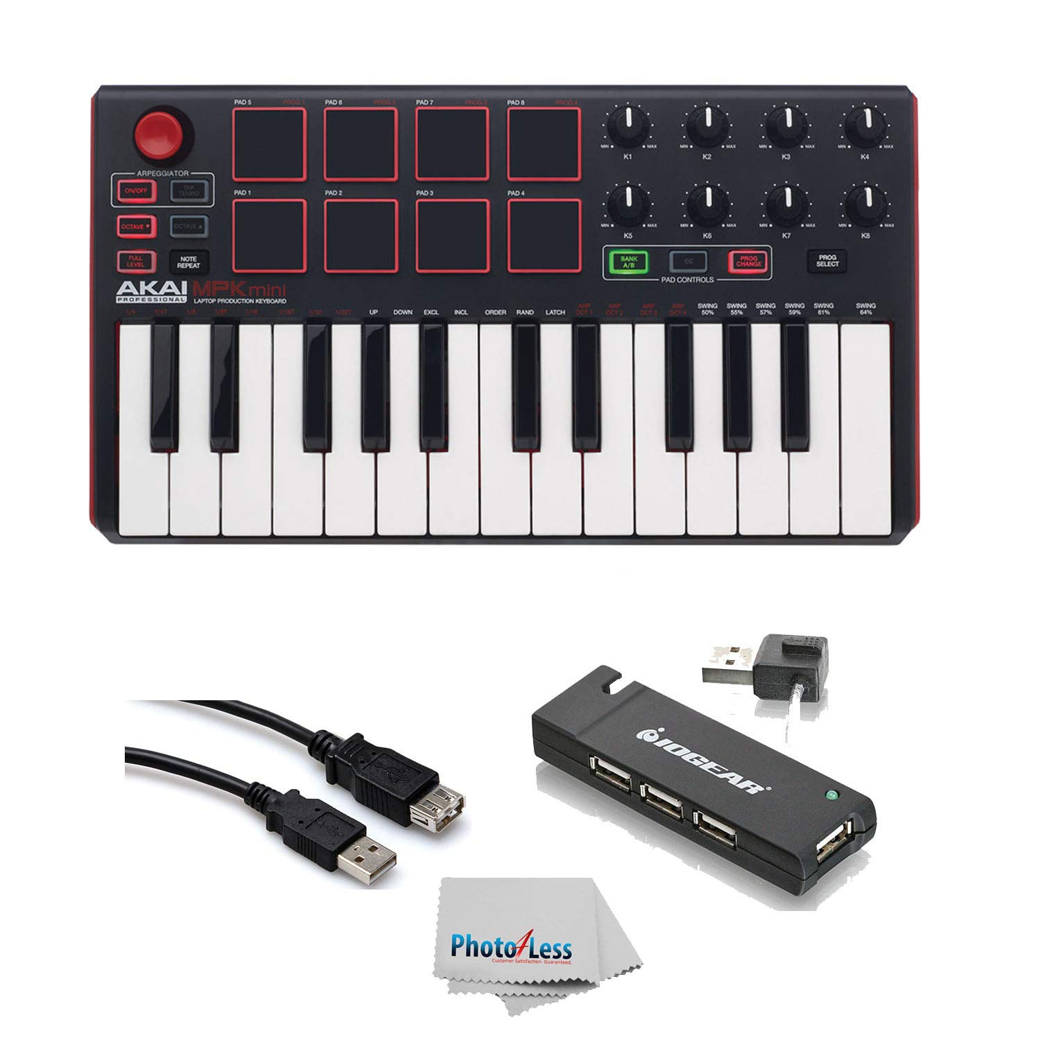 Akai Professional MPK MINI MK2 MKII | 25-Key Ultra-Portable USB MIDI Drum Pad & Keyboard Controller (Red/Black)+ 4-Port USB 2.0 Hub + High Speed USB Extension Cable + Clean Cloth