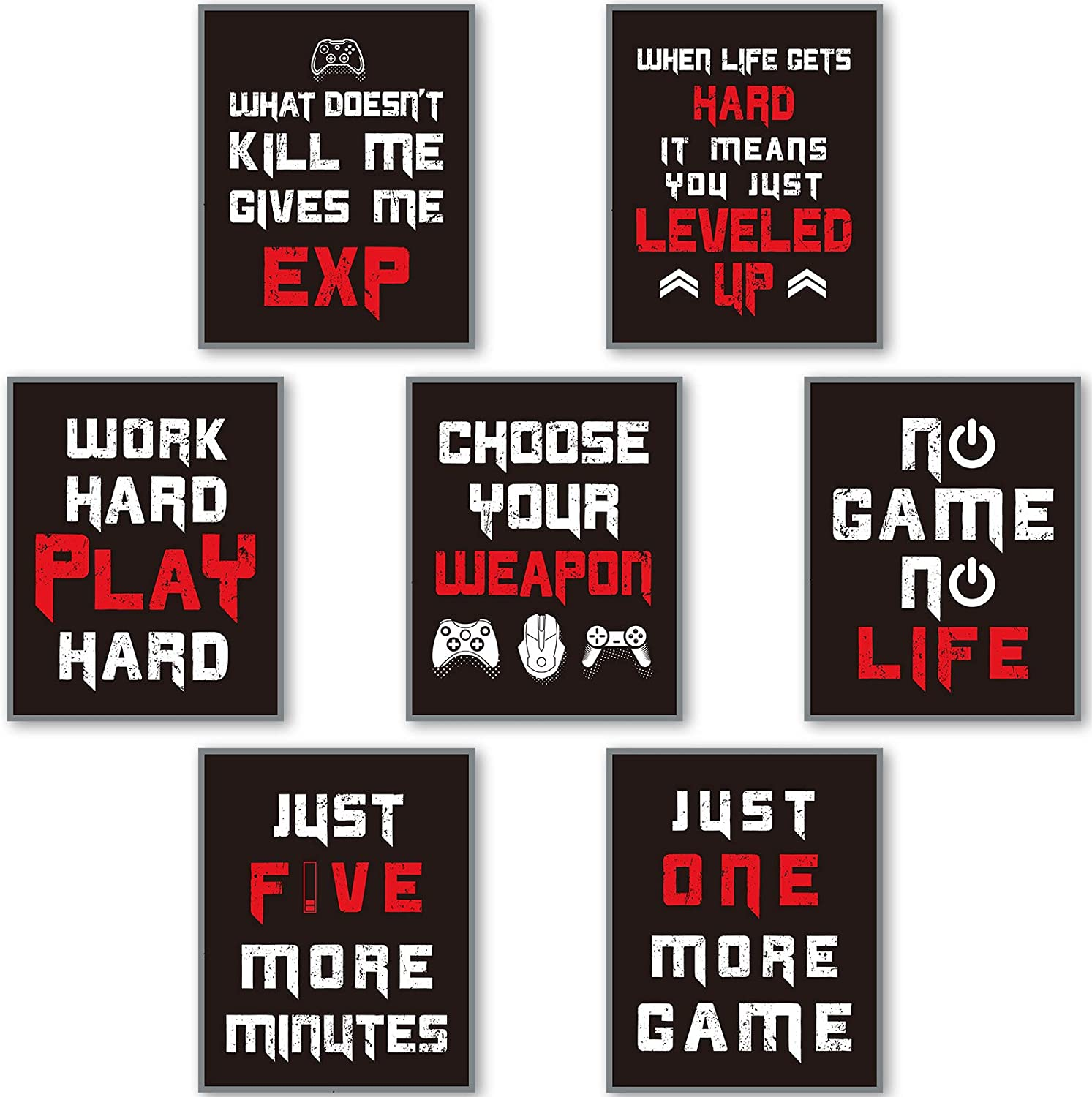 7 Pieces Gaming Art Prints Gaming Posters for Gamer Room Decor, Video Game Gamer Wall Decor for Men Boys Kids Playroom Bedroom Home Decoration Man Cave, Unframed (Black and White)