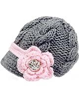 Bestknit Handmade Newborn Toddler Baby Girls Crochet Knit Brim Cap Hat