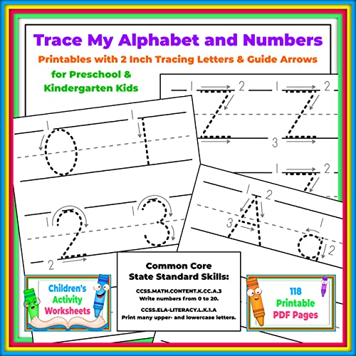 Trace My Alphabet And Numbers: Printables With 2 Inch Tracing Letters &  Guide Arrows For Preschool