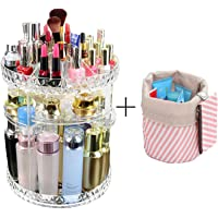 SuTon Large Capacity Makeup Organizer - 360° Rotating/Revolving Adjustable Cosmetic Storage and Makeup Organizer