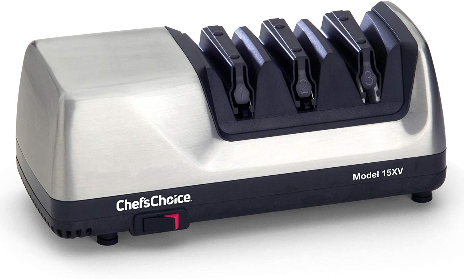 Chef'sChoice 15 Trizor XV EdgeSelect Professional Electric Knife Sharpener for Straight and Serrated Knives Diamond Abrasives Patented Sharpening System Made in USA, 3-Stage, Brushed Metal