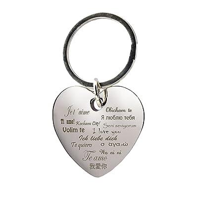 """'Porte-clés Coeur avec gravure """"Je t'aime, I Love You, je t'aime–Divers langues–Chromé–Cadeau–pour la petite amie–La"""