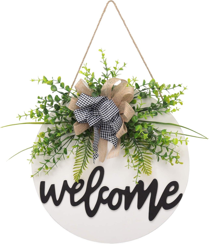 Welcome Sign for Front Door, Wreaths for Front Door, Spring Summer Rustic Round Wooden Door Hangers Sign, Buffalo Plaid Door Hanging Décor for Outdoor Farmhouse Porch