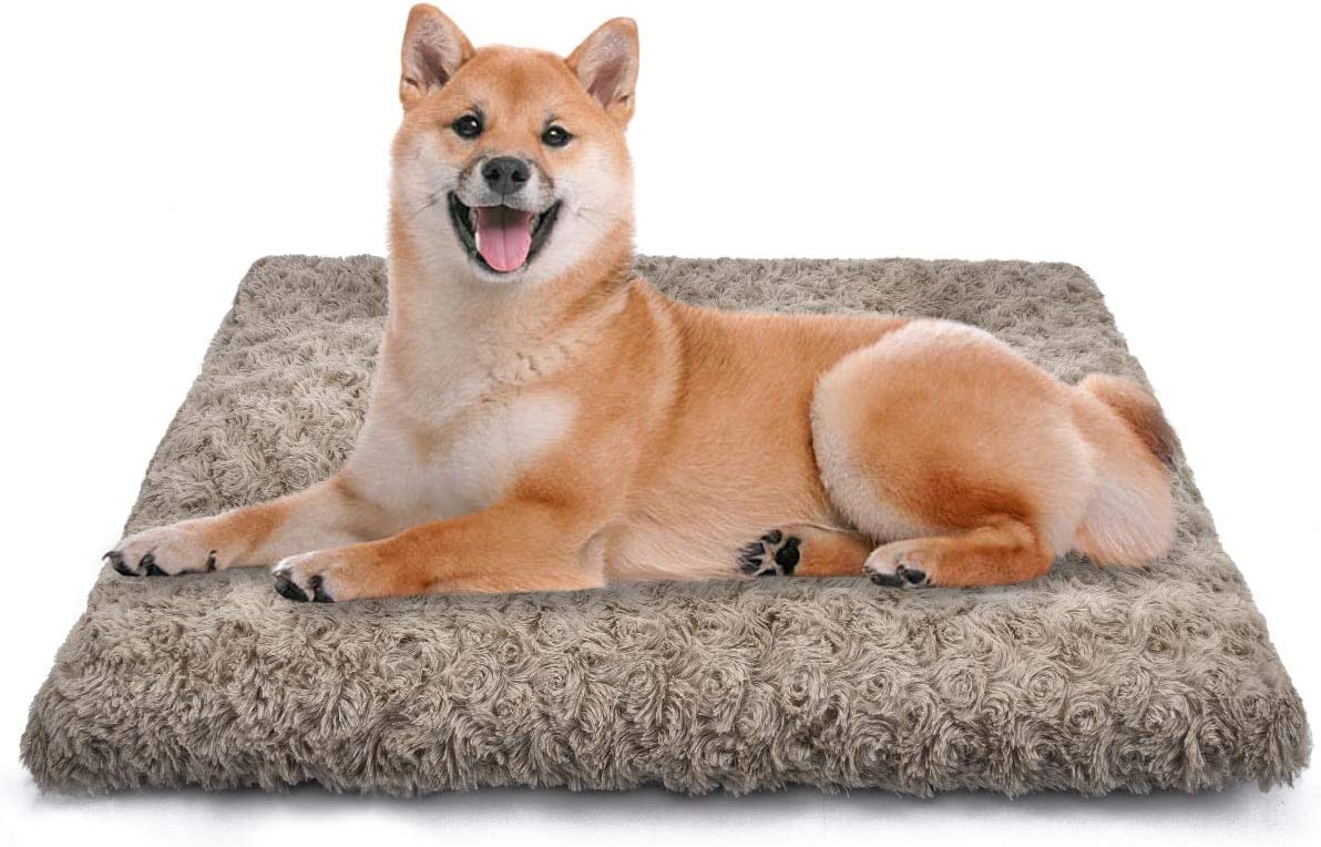 SIWA MARY Dog Bed Crate Pad Ultra Soft Anti Slip Washable Cozy 24/30/36/42 Kennel Pad for Dogs and Cats