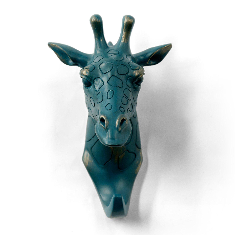HERNGEE Giraffe Head Single Wall Hook / Hanger Animal shaped Coat Hat Hook Heavy Duty, Rustic, Decorative Gift , Rustic Bronze Color