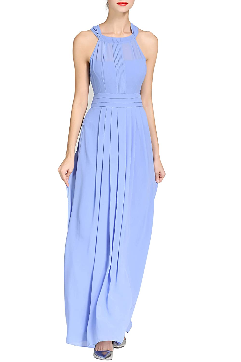 Little Smily Womens A-line Halter Top Chiffon Pleated Maxi Bridesmaid Dress