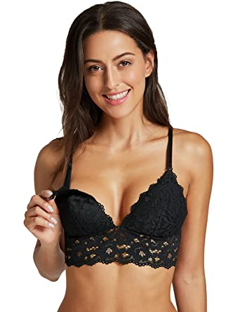1025593dc17a8 MOMANDA Women s Lightly Lined Wirefree Maternity Nursing Bra Lace Longline  Black S - (32C