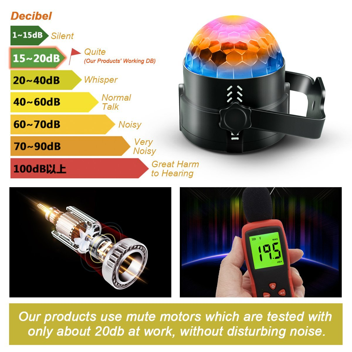 Party Supplies Disco Ball DJ Lights - Sound Activated LED lights with Remote Control RGB Strobe Lamp Stage Light for Home Dance Birthday Bar Karaoke Wedding Show by BOOMRO (Image #3)