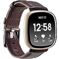 Nigaee Skórzana bransoletka do zegarka Fitbit Versa 3 i Fitbit Sense skórzana bransoletka kompatybilna z Fitbit Sense…