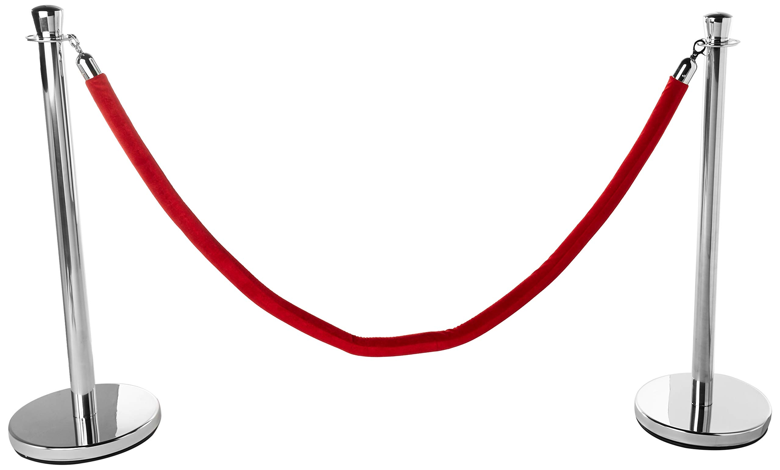 Red Velvet Rope Stanchion Crowd Barrier Set by Trademark Innovations by Trademark Innovations