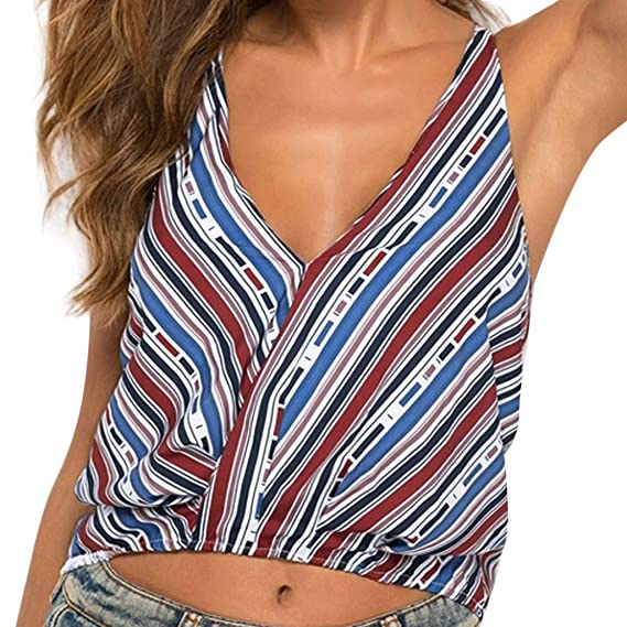 Buy Rosatro Women T Shirt Summer The Fashion Women S Summer Sexy Colour Stripe Suspender Top Blouse Blue Xl At Amazon In