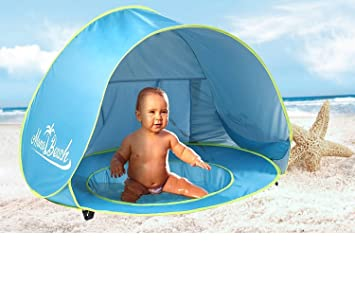 MonoBeach Baby Beach Tent Pop Up Portable Shade Pool UV Protection Sun Shelter for Infant  sc 1 st  Amazon UK : beach tents pop up - memphite.com