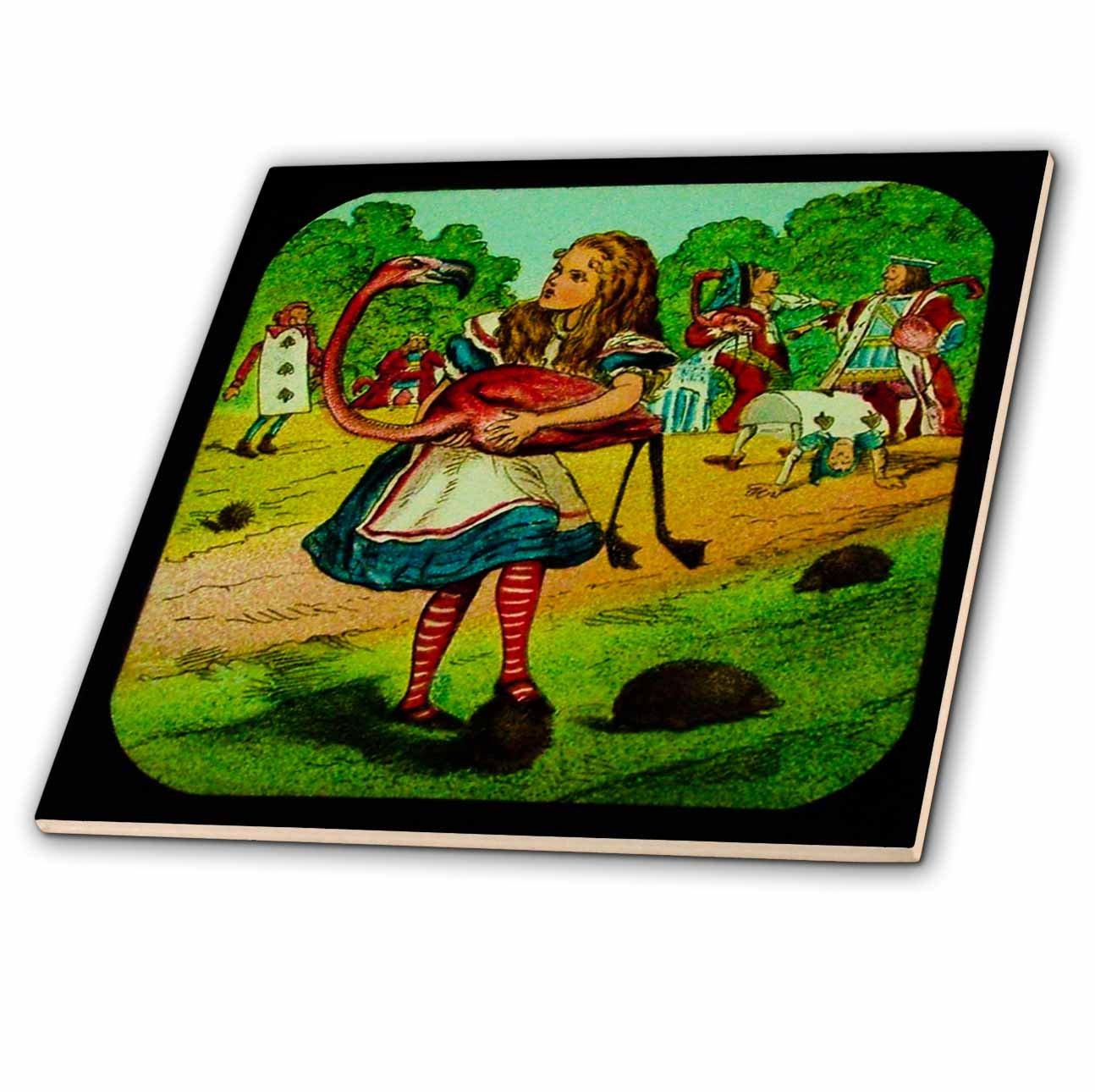 3dRose ct/_27556/_1 Alice in Wonderland Golfing-Ceramic Tile 4-Inch