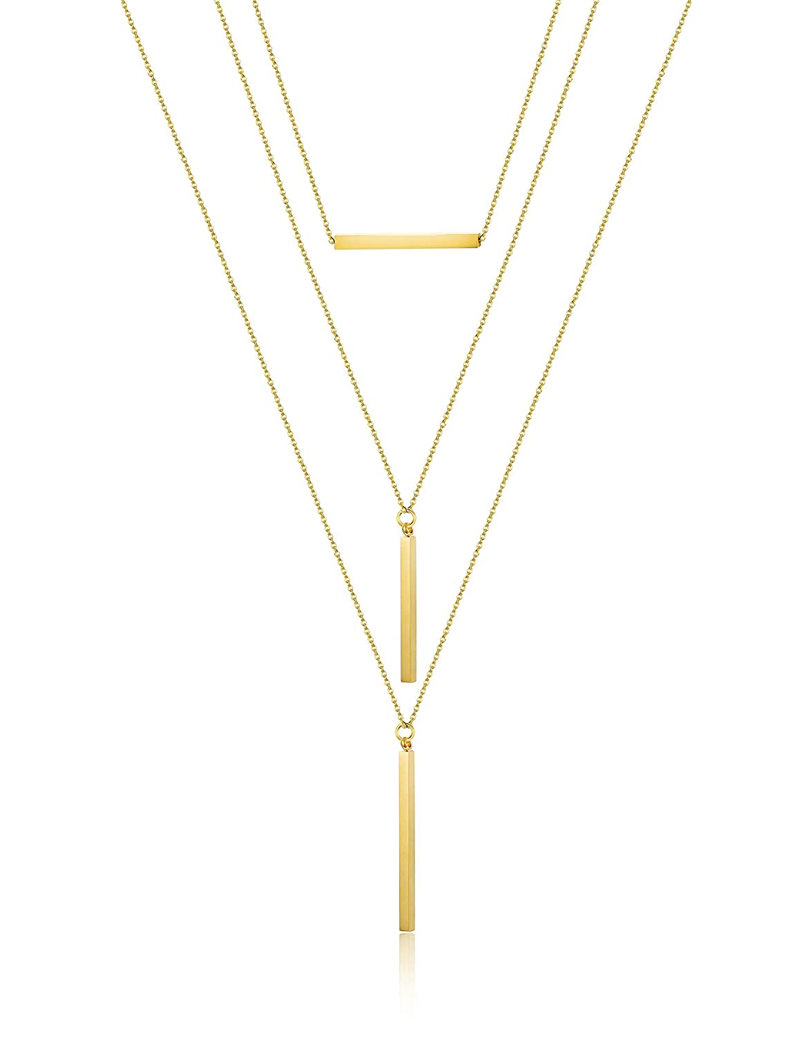 LOYALLOOK Bar Pendant Necklace Multilayer Simple Layered Choker Necklace Long Chain Y Necklace Women Girls LOY-M-N0007-S