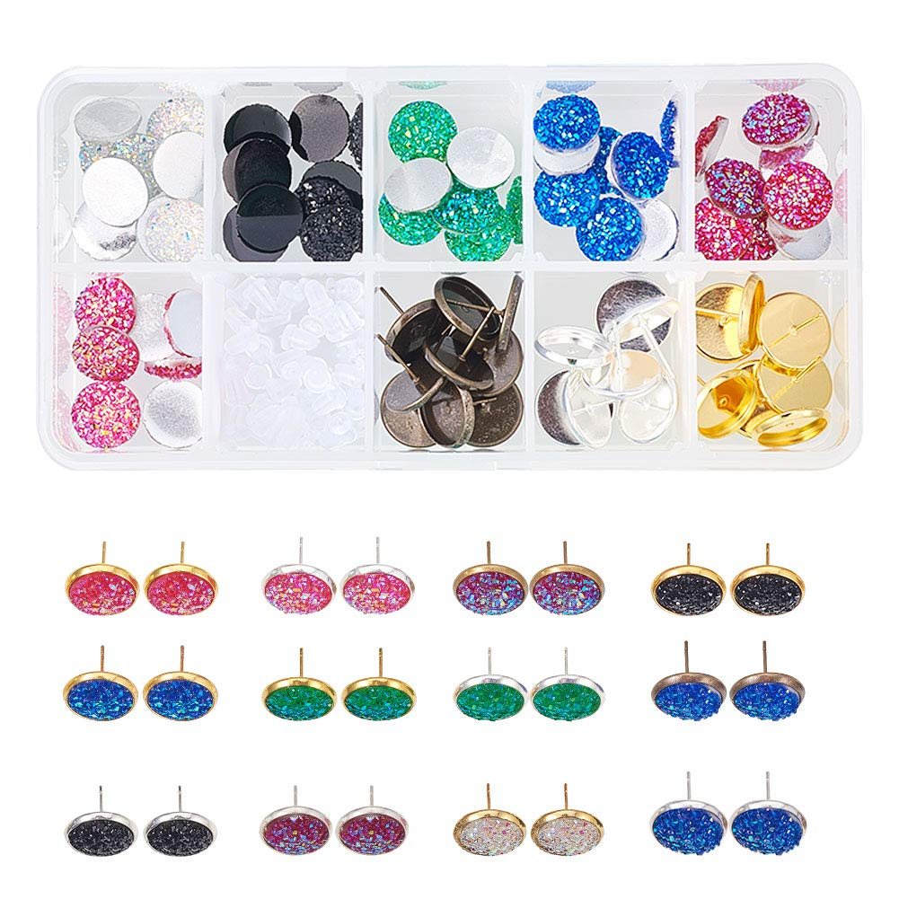 SUNNYCLUE 1 Box 141pcs DIY Jewelry Druzy Stud Earrings Making Starter Kit Include 6 Color 60pcs Round Druzy Agate Resin Cabochons 12mm, and 3 Color 30pcs Brass Stud Earrings Settings DIY-SC0002-07-7SC