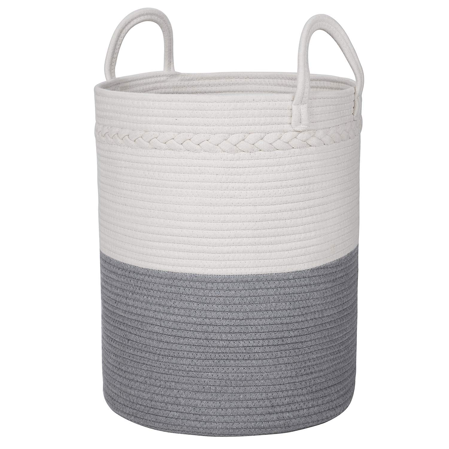 LHMSTORE Extra Large XXXL Woven Storage Basket, 18'' x 15'' Decorative Basket and Laundry Hamper for Clothes Sofa Cloth, Throws, Blankets Pillows, Towels, Toys or Nursery, Cotton Rope Organizer by LHMSTORE