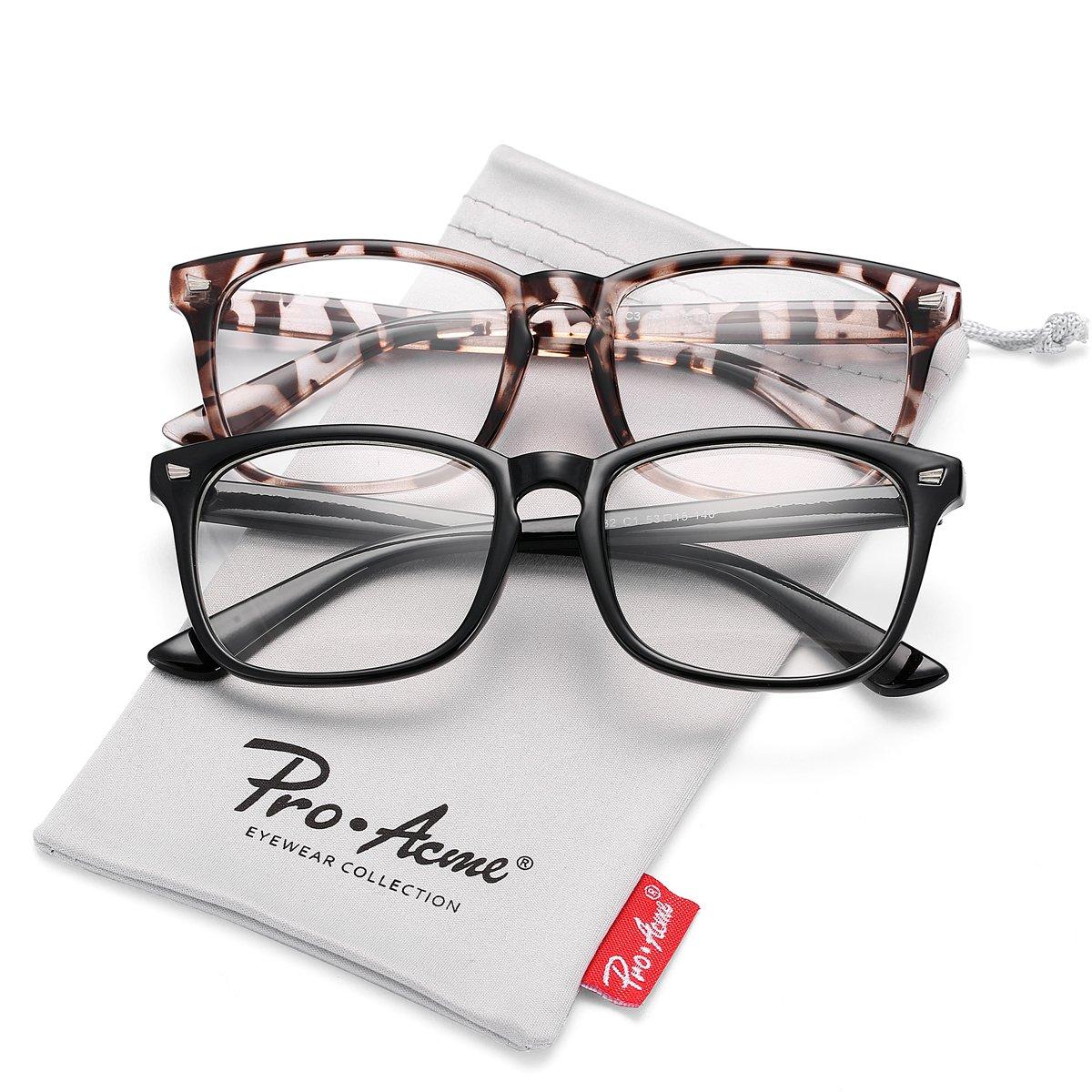 Pro Acme New Wayfarer Non-prescription Glasses Frame Clear Lens Eyeglasses (Black +Leopard)