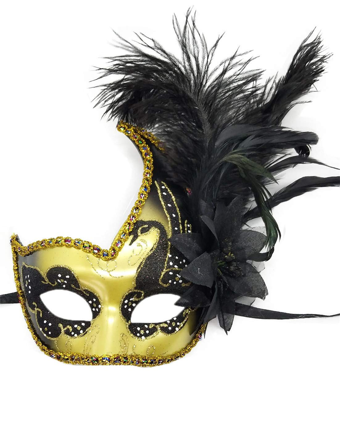 Womens Feather Masquerade Mask Venetian Party Ball Prom Halloween Costumes Mardi Gras Mask (Gold/Black)