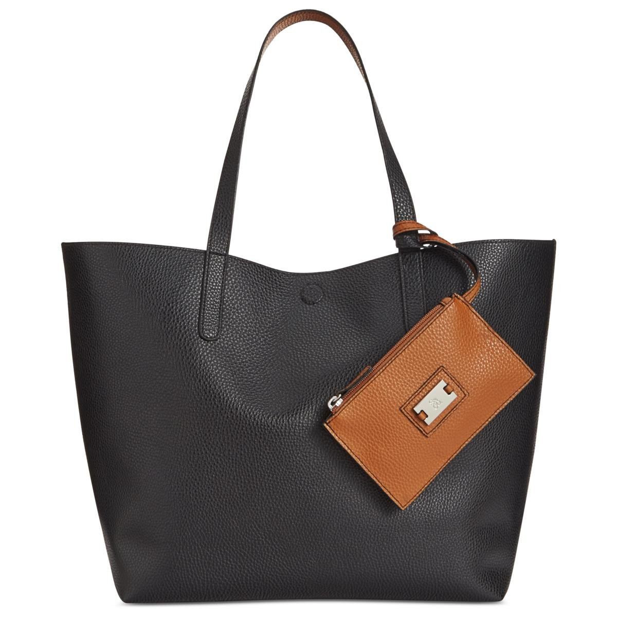 Style & Co. Womens Clean Cut Textured Faux Leather Tote Handbag Black Large