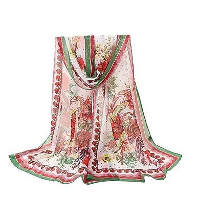 e0a827138c4e AIMEE7 Femme Écharpe en Mousseline de Soie Mode Rétro Boho Imprimé Longue  Foulard Châle Oversize Pas