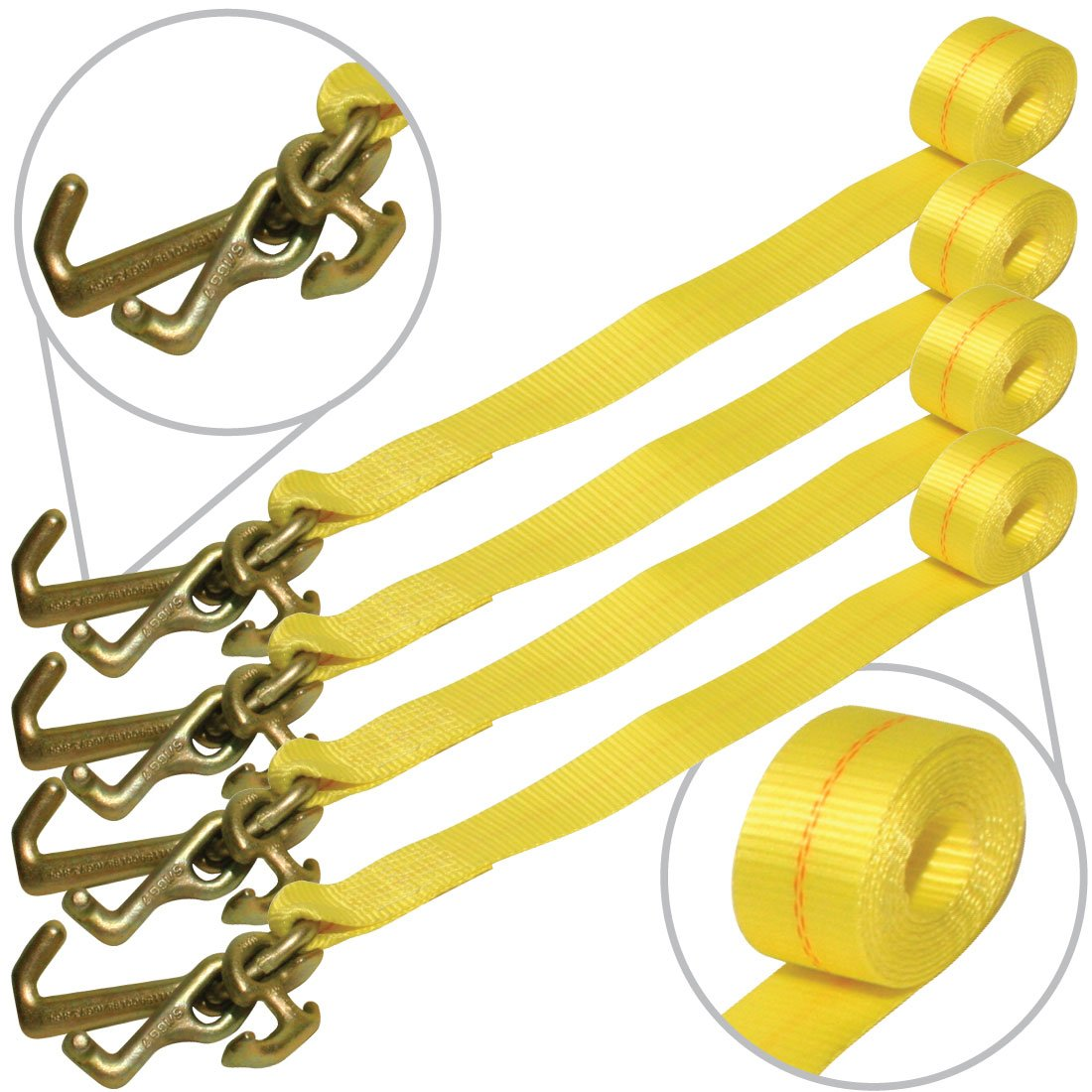 Vulcan Classic Auto Tie Down Replacement Strap with Universal Frame Hook Cluster - 3300 lbs. SWL (96'' - Pack of 4) by VULCAN