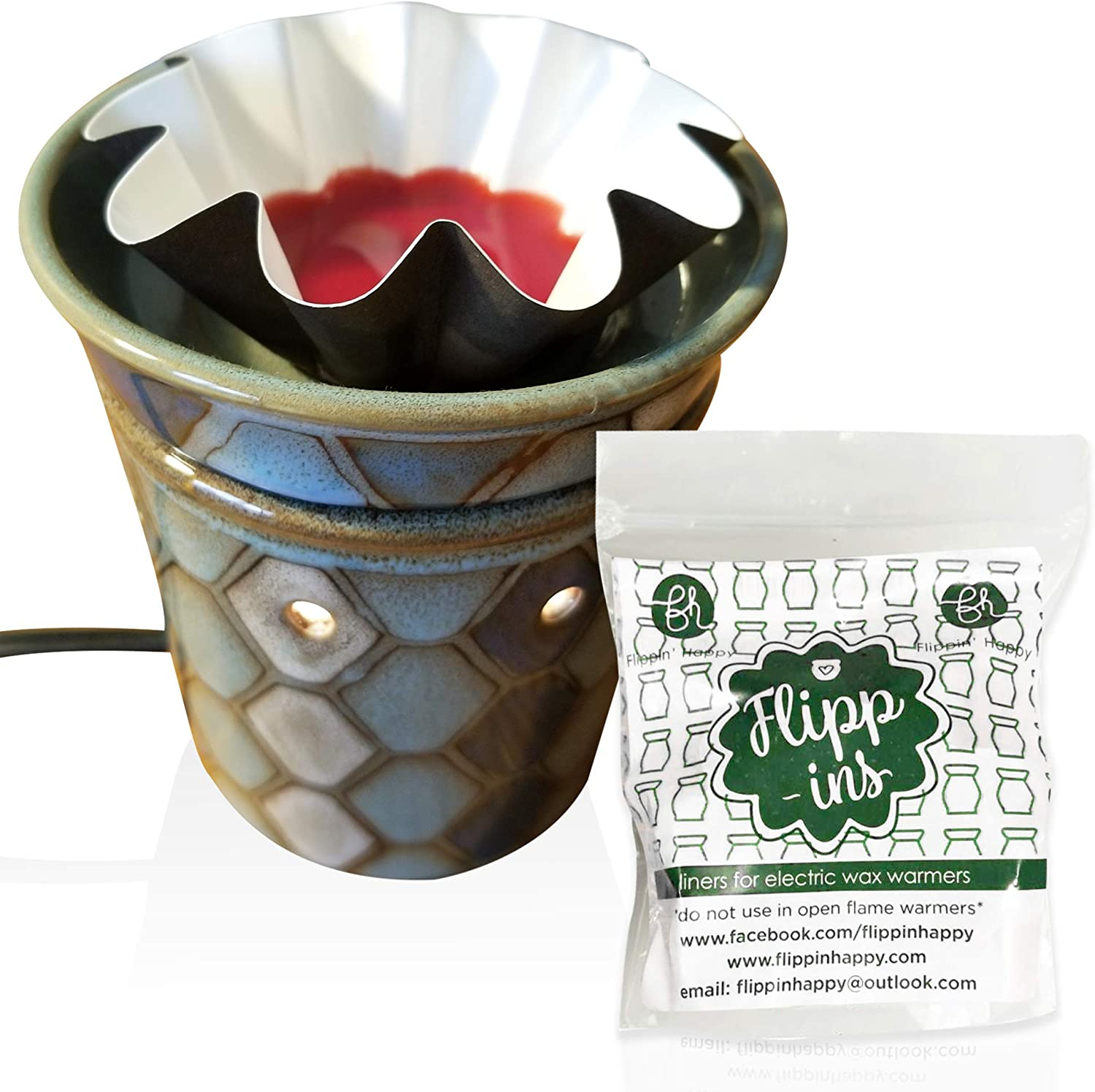 Flippin' Happy Wax Warmer Liners Large - Best New Accessory for Electric Wax Warmers & Wax Melts. Reusable Leakproof -Change Your Scented Wax Cubes Quick and Easy. Wax Melters Stay Looking Like New