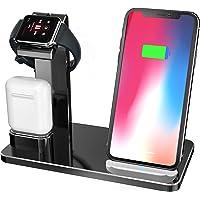 Kabelloses Ladegerät Kompatibel mit iWatch Ladestation,YOMENG 3 in 1 Wireless Qi Schnellladestation Aluminium für iPhone X/XR/XS/Max/8 Plus iPad AirPods Serie 4/3/2/1 Samsung Note8/S8/S9 Plus