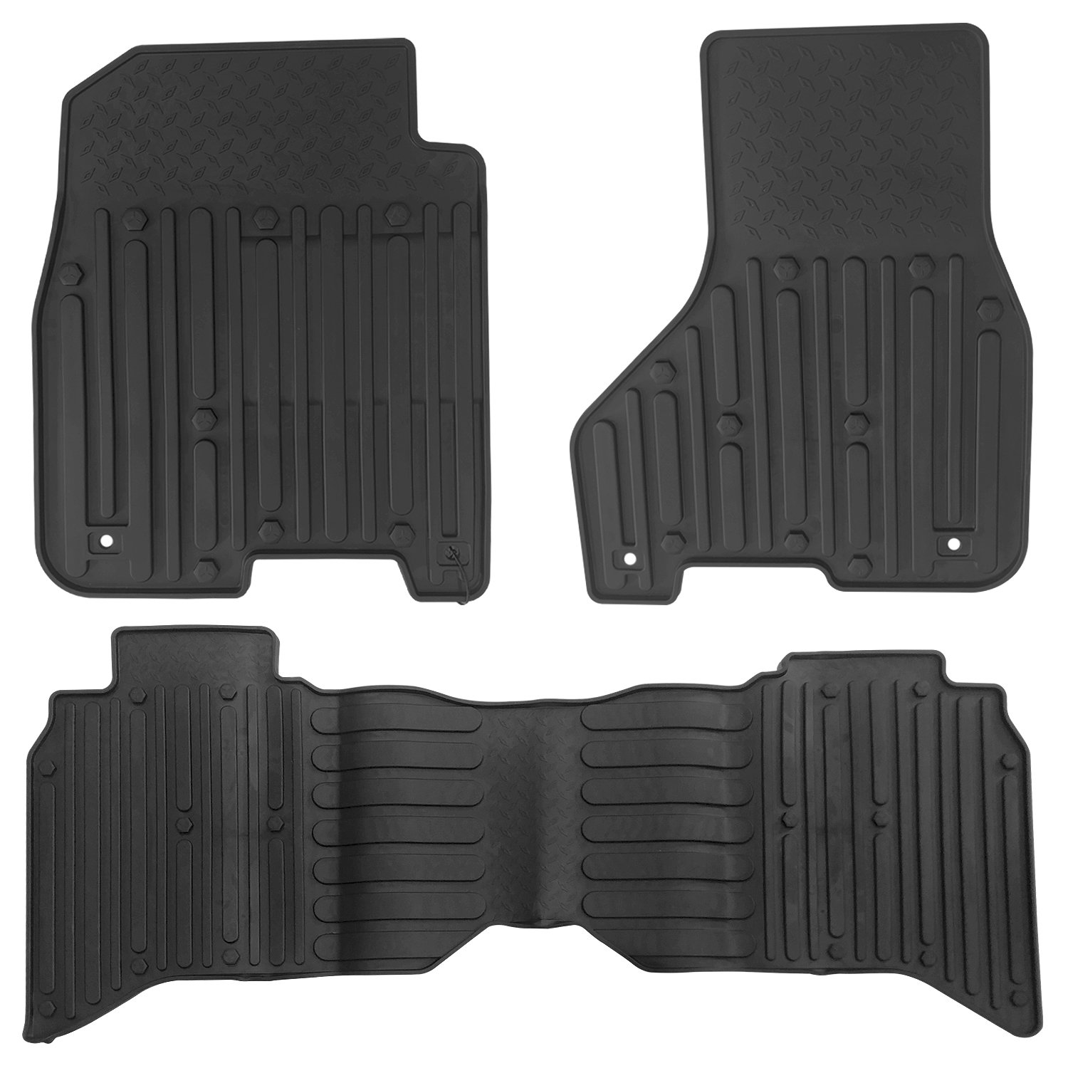 All Weather Floor Mats for Dodge Ram 1500 2500 3500 4500 5500 Crew Cab 2013 2014 2015 2016 2017 Runner Front and Rear Set Heavy Duty Rubber Car Carpet Trunk Mat Liners Black Red Odorless