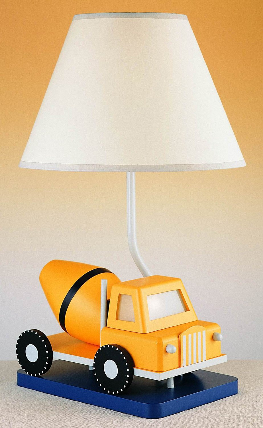 Cal Lighting BO-5665 Kids Novelty Lamp with White Fabric Shades, Yellow Cement Truck in White Finish