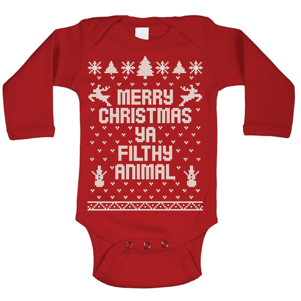 Merry Christmas Ya Filthy Animal Ugly Christmas Sweater Contest Party Xmas Baby Long Sleeve One Piece (18 Months, Red)