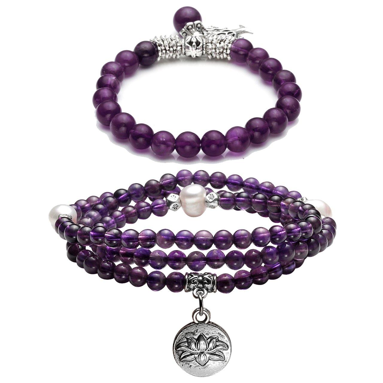 Top Plaza Natural Amethyst Gemstones Healing Crystals Jewelry with 108 Mala Prayer Beads Tibetan Buddhist Wrap Bracelets Necklace & Tree of Life Lucky Stone Stretch Bracelet