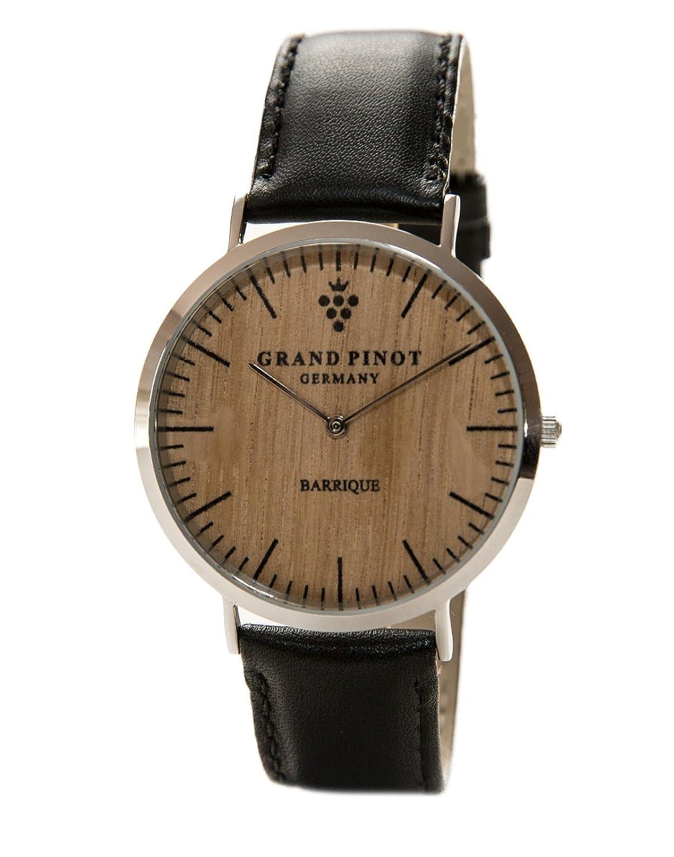 Grand Pinot flache Herren-Armbanduhr CLASSIC (41 mm) Silber-Barriquefass mit schwarzem Lederarmband (schlanke Holzuhr