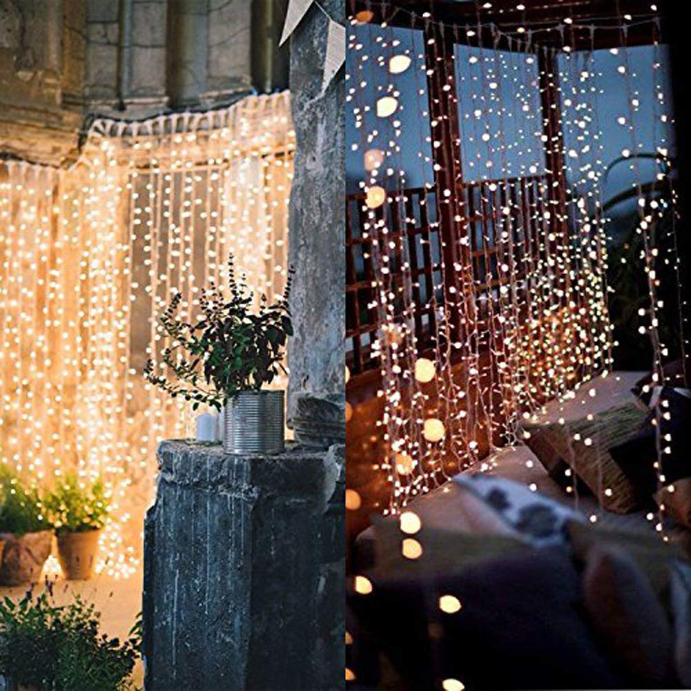 Twinkle Star 300 LED Window Curtain String Light Wedding Party Home Garden Bedroom Outdoor Indoor Wall Decorations, Warm White by Twinkle Star (Image #5)
