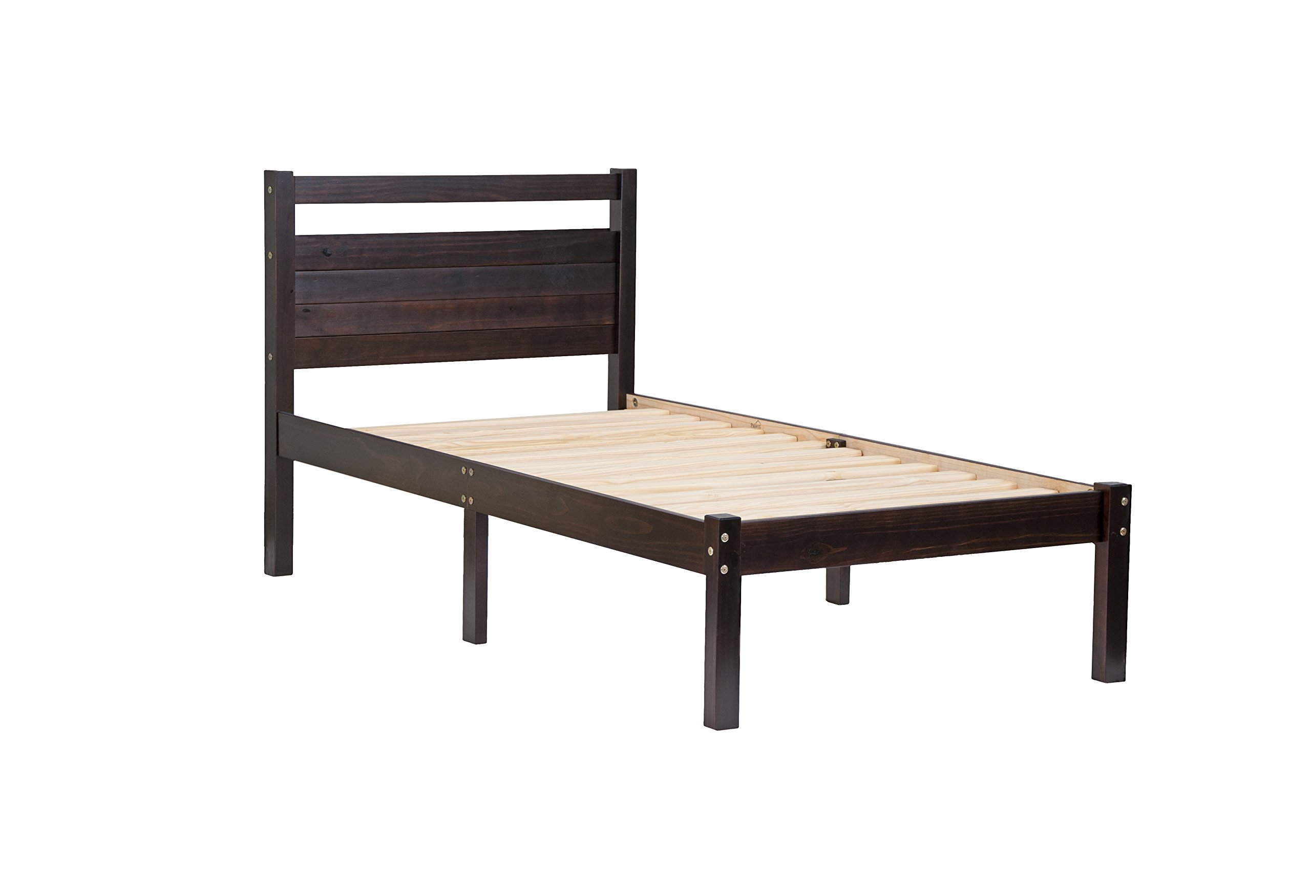 "100% Solid Wood Bronx Twin Bed-in-a-Box by Palace Imports, Java Color, 41.5""W x 39.5""H x 79""L, 12 Slats Included… -  - bedroom-furniture, bedroom, bed-frames - 71 Q8Xq vLL -"