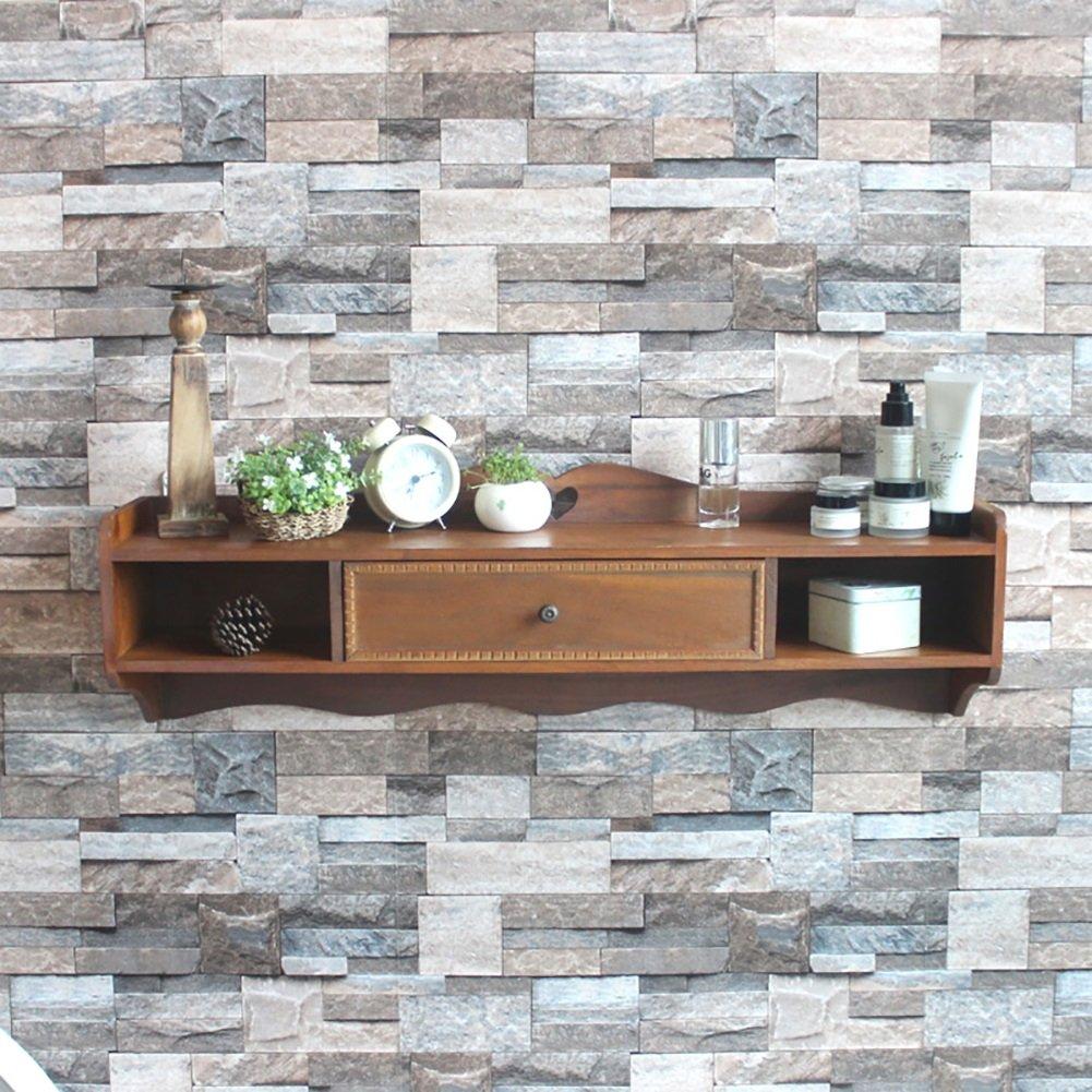 BGCG American Retro Solid Wood Closet, TV Front Set Top Box, Background Wall Decorative Rack, Entrance Hall Wall Hanging Storage Rack, Locker Storage cabinets
