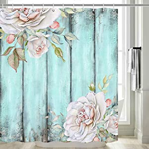 Rustic Shower Curtain, Teal Floral Flowers Herbs Leaves on Farmhouse Wooden Bathroom Decor, Shabby Chic Country Shower Curtain, Teal Chic Art Print Fabric Polyester Bath Curtains with Hooks 69Wx70L