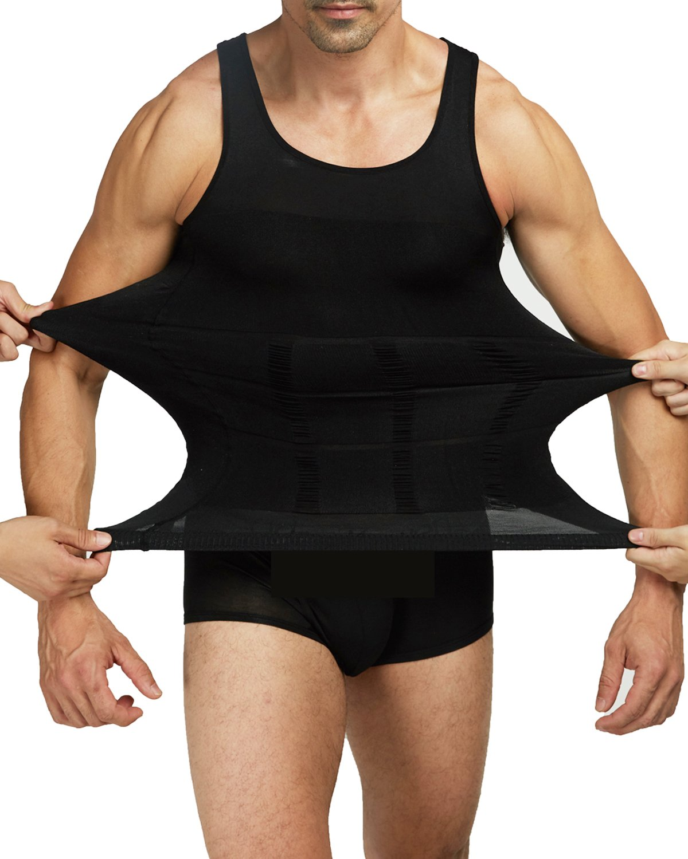 Shaxea Mens Slimming Body Shaper Vest Shirt Tank Top Compression Shirt, Shapewear For Men (L, Black)