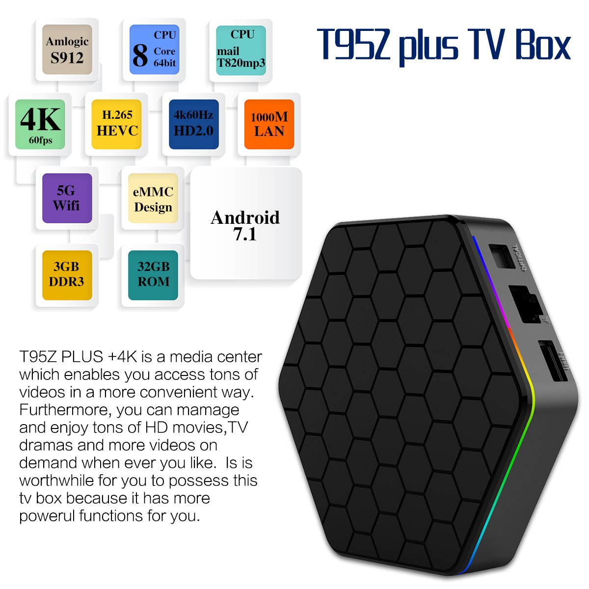 YAGALA T95Z Plus Android 7.1 TV Box 3GB RAM//32GB ROM Octa Core Amlogic S912 TV Box support 4K Dual Band WiFi 2.4GHz//5GHz Bluetooth 4.0 HDMI Ethernet 64 Bits