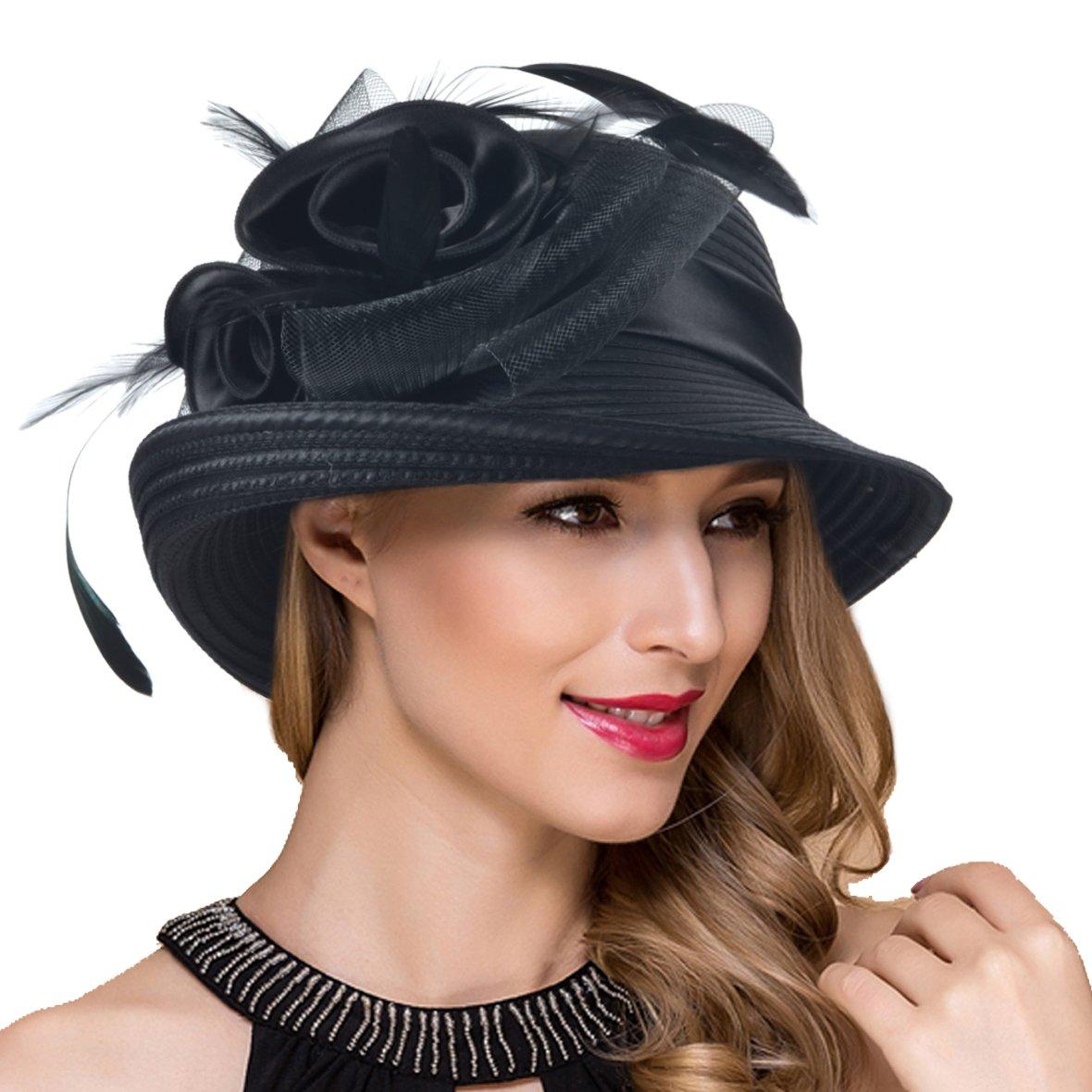 Women Kentucky Derby Church Dress Cloche Hat Fascinator Floral Bucket Hat S052 (S608-Black)