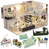 CUTEBEE Dollhouse Miniature with Furniture, DIY Dollhouse Kit Plus Dust Proof and Music Movement, 1:24 Scale Creative Room Idea M21