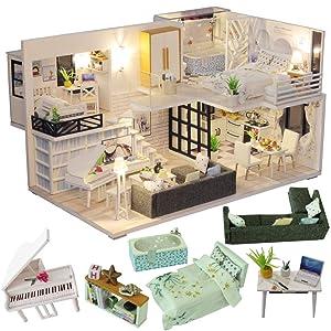 CUTEBEE Dollhouse Miniature with Furniture, DIY Dollhouse Kit Plus Dust Proof and Music Movement, 1:24 Scale Creative Room Idea M21