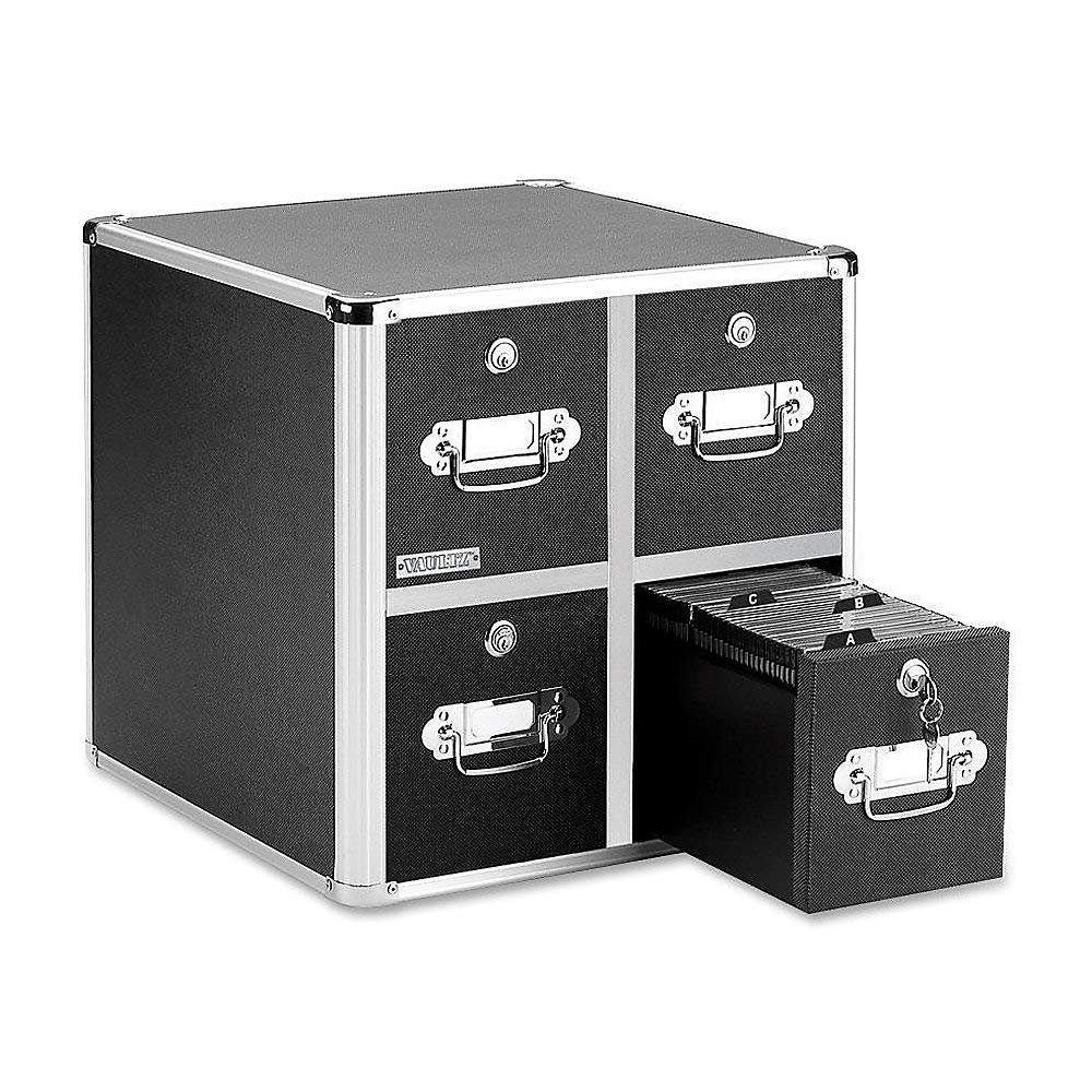 Vaultz Locking CD File Cabinet, 4 Drawers, 15.25 x 14.00 x 14.50 Inches, Black (VZ01049) by Vaultz