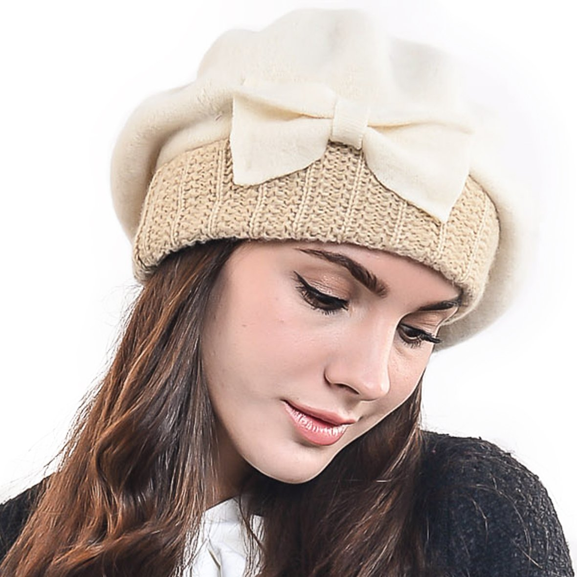 534e07b9802 F N STORY Lady French Beret Wool Chic Beanie Winter Hat Jf-br034 ...