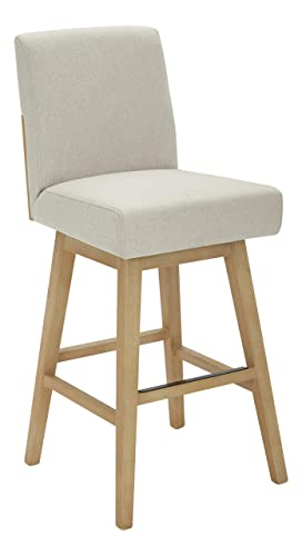 Stone Beam Sophia Modern Swivel Kitchen Counter Height Stool, 39.4 H, Chalk