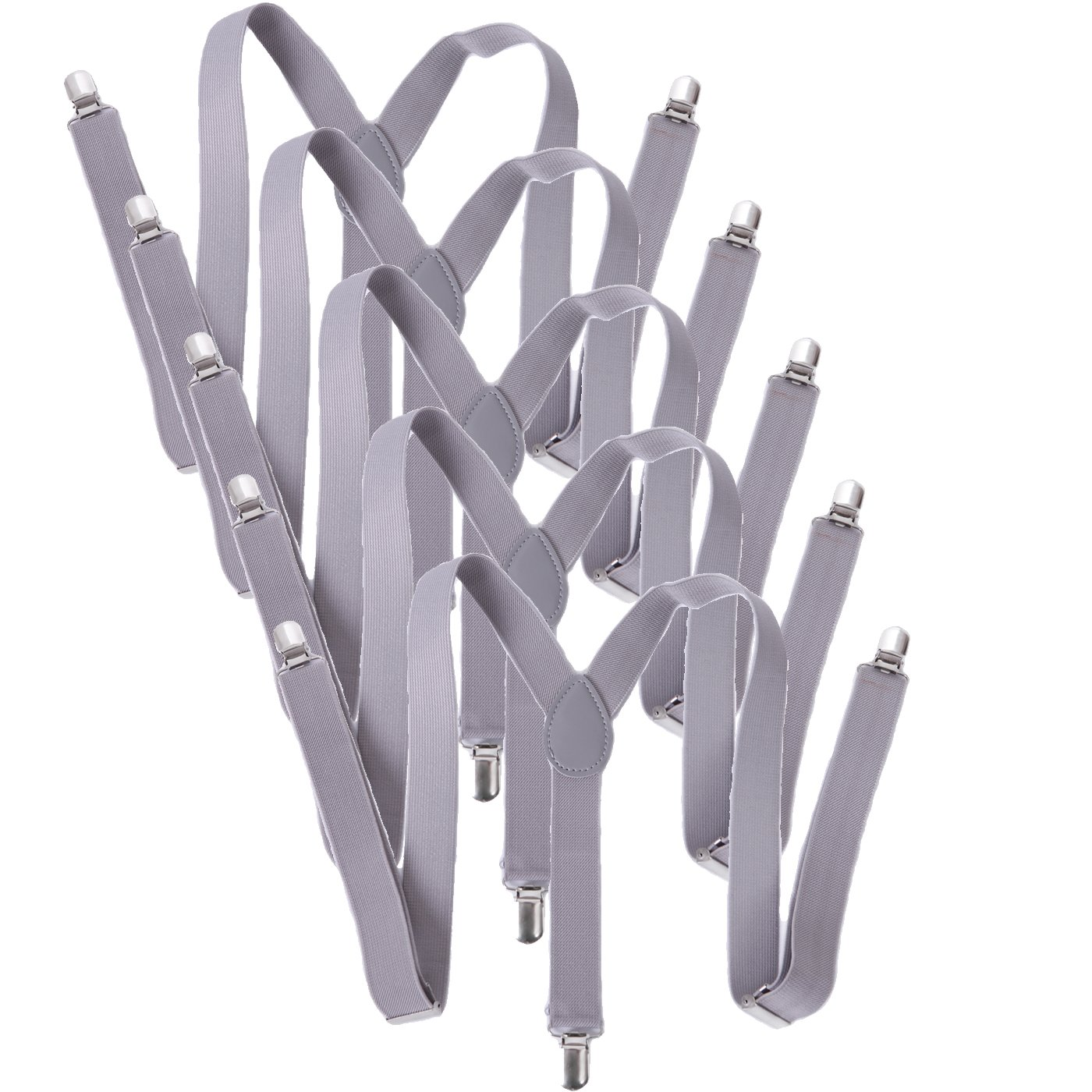 HDE 5 Pack Solid Color Straight Y-Back Clip Suspenders - 1 Inch Wide (Light Gray, 42 inches)