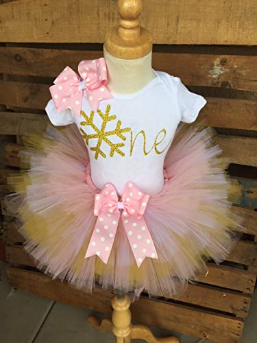 0630ba9de0 Image Unavailable. Image not available for. Color  Christmas Winter Birthday  Tutu Outfit Set Dress Shirt First Birthday 1st Baby Light Pink and Gold