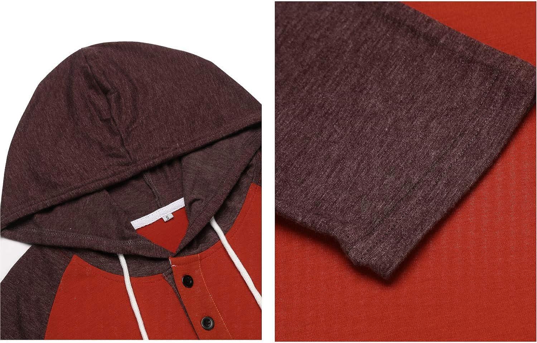 Lamore Mens Long Sleeve Sweatshirt Lightweight Pullover Hoodies Casual Reglan T-Shirts Henley Neck Top